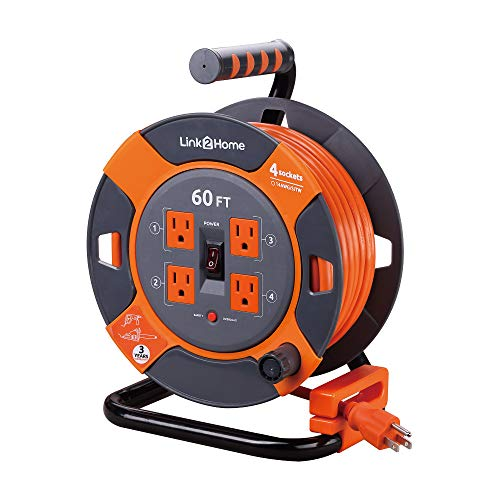 Link2Home Cord Reel 60 ft. Extension Cord 4 Power Outlets – 14 AWG SJTW Cable. Heavy Duty High Visibility Power Cord.