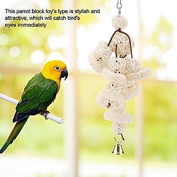 Jouets à mâcher suspendus pour perroquets, éponges de Loofah d'oiseaux de compagnie picorant de jouets Jouets à suspendre à balançoires en rotin avec jouet pour cage à oiseaux en forme de clochette