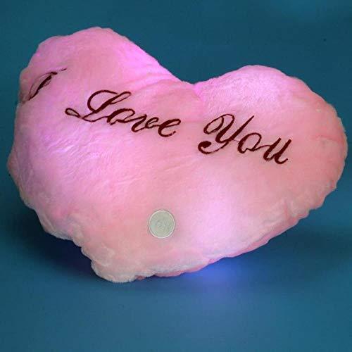 Cojín con diseño de corazón 100% perfecto, almohada con luz LED brillante de 7 colores que cambian de color, cojín suave, rosa, Estados Unidos
