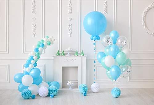 Leowefowa 3x2m Vinilo 1er cumpleaños Telon de Fondo Bebé Decoracion Vintage Globos Azules Linterna...