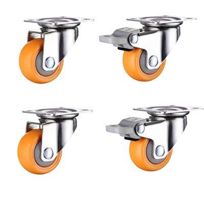 Ruedas 4pcs 2 pulgadas 50 mm de servicio pesado 160kg naranja ruedas giratoria ruedas de ruedas de trolley muebles de caucho liso (Color : 2A2C, Size : 2 inch)