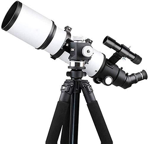 SEESEE.U Telescopio Refractor de 80 mm con trípode y buscador, con visión Nocturna con Poca luz, Duradero, con Adaptador para teléfono Inteligente, Mochila y Filtro Lunar