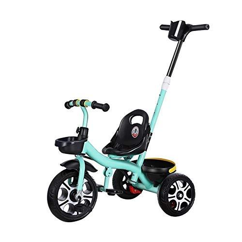 WENJIE Infantil Cesta Trasera del Triciclo Frente Y Diseño Portátil Cochecito De Bebé 1-5 Años De Edad, Todos Los Neumáticos del Terreno 3 Colores Cochecito De Bebé (Color : Green)