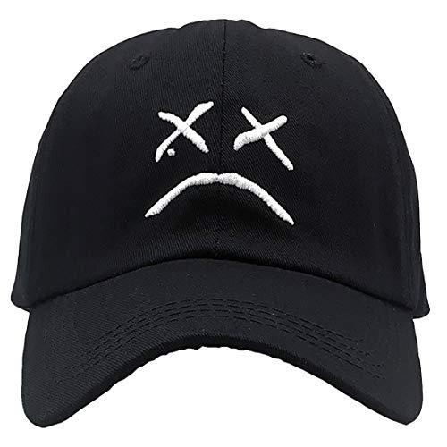 Agshcqi Baseballkappe, verstellbar, modisch, klein und weinendes Gesicht, niedriges Profil, Hut, Sonnenhut, Hip-Hop, flache Snapback-Stickerei - - Einheitsgröße
