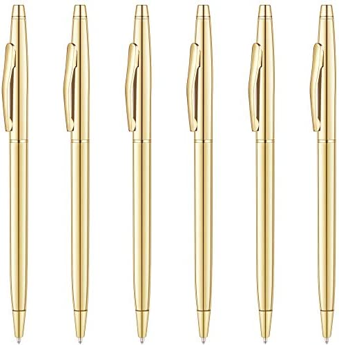 Unibene Slim Metallic Retractable Ballpoint Pens Gold Nice Gift for Business Office Students product image