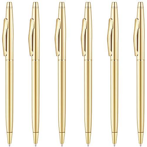 Unibene Slim Metallic Retractable Ballpoint Pens - Gold, Nice Gift for Business Office Students Teachers Wedding Christmas, Medium Point(1 mm) 6 Pack-Black ink