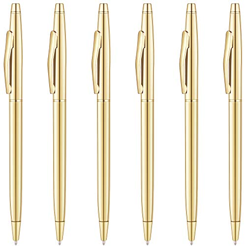 Unibene Slim Metallic Retractable Ballpoint Pens - Gold, Nice Gift for Business Office Students Teachers Wedding Christmas, Medium Point(1 mm) 6 Pack-Black ink