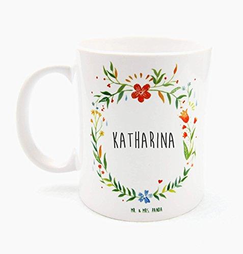 Mr. & Mrs. Panda Tasse Katharina Design Frame Barfuß Wiese - 100% handgefertigt aus Keramik Holz - Anhänger, Geschenk, Vorname, Name, Initialien, Graviert, Gravur, Schlüsselbund, handmade, exklusiv