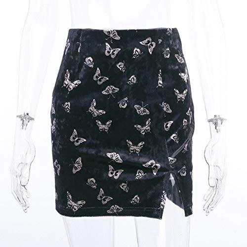 HongYa Black Dark Goth Women Chinese Style Mini Skirts 2020 Lady Empire Butterfly Print Split Hip Velvet Gothic Punk Hipster Chic Skirt-Black,M