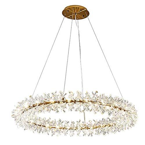 Cristal LED Lámparas De Araña,Blanco Moderno Anillo Lampara Colgante G4 Altura Ajustable Semi Flush Lámpara De Techo Para Sala De Estar Comedor-Blanco 40cm