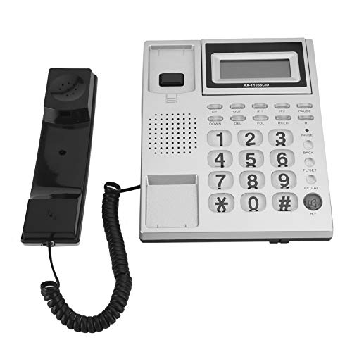 Wired Corded Phone, DTMF FSK Dual System Caller ID Display Function 16 Ringtones Incoming Call Corded Phone for Home Offic
