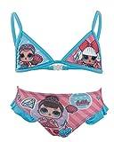 L.O.L. Surprise! - Costume Bikini 2 Pezzi con Volant Mare Piscina - Full Print - Bambina - novità Prodotto Originale con Licenza Ufficiale 18-XXX [Azzurro 070-3 Anni - 98 cm]