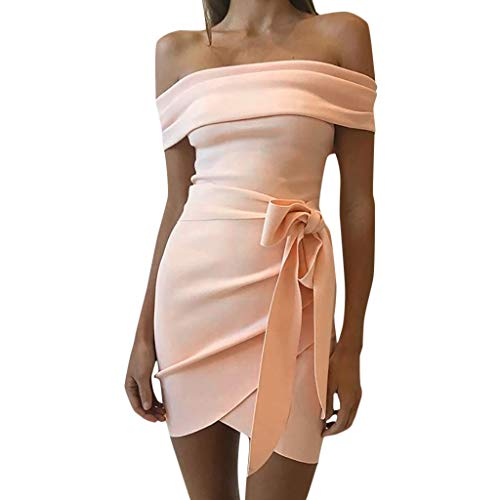 Learn More About Lefthigh Women's Word Collar Strapless Belt Slim Dress Slash Neck Mini Off Shoulder...