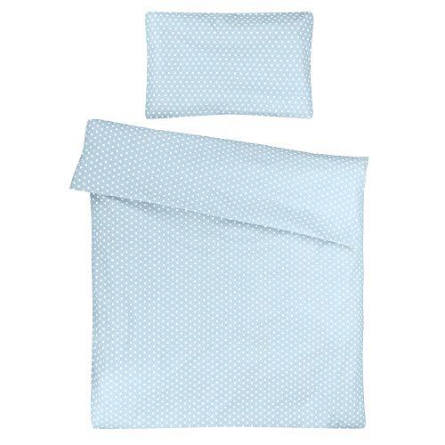 Sugarapple Kinder Bettwäsche 100x135 cm und Kissenbezug 40x60 cm, 2 tlg. Set, 100% Baumwolle Öko Tex Standard, Reißverschluss, Hellblau Sterne weiß
