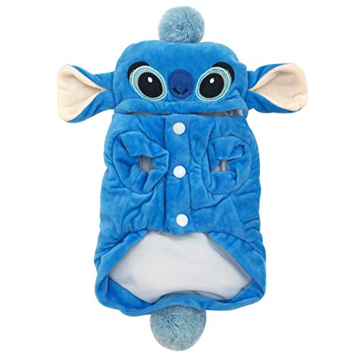 3°Amy Hundemantel Winter-warme Haustier-Katzen-Hunde-Bekleidung for kleine Hunde Cartoon Cotton Pet Kostüm Hoodie Chihuahua Mops-Mantel-Jacken-Welpen-Kleidung Outfit (Color : Stitch, Size : S)