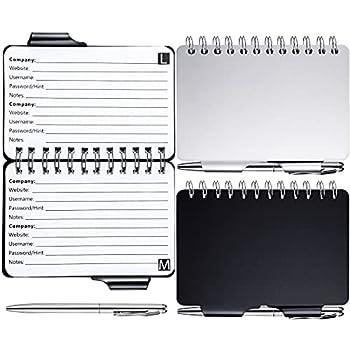 2 Pieces Portable Password Book Password Organizer Notebook Elegant Pattern Password Book Keeper with Pen Spiral Bound Notebook for Password Information
