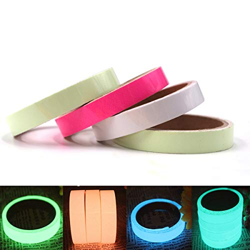 """4-Pack Glow in the Dark Tape ,High Luminance Photoluminescent Waterproof Removable Glow Tape Sticker(0.6"""" x 10ft Each) (4 colors)"""