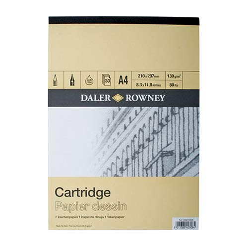 Daler Rowney - Paquete de papel ingres (liso, tamaño A3, 30 hojas, lápiz y carboncillo)