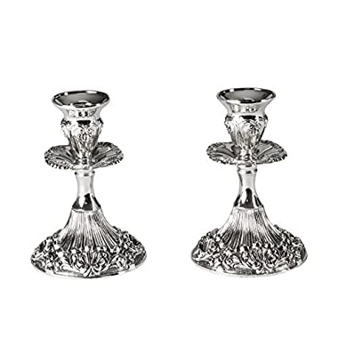 Ner Mitzvah Silver Plated Candlesticks - 2 Pack Set - Pair of 5 Inch Ornate Candle Holders with Round Base and Floral Design