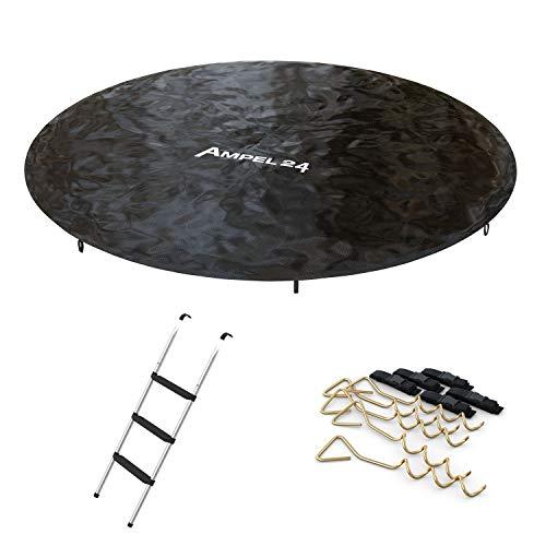 Ampel 24 trampoline-accessoires set 490 cm: Afdekzeil met regenafvoer, ladder met 3 brede traptreden en 5 grondankers om vast te schroeven met verstelbare riem