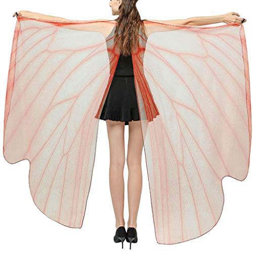 Damen Schmetterling Kostüm Tanzen Ballett Schmetterlingsflügel Schal Faschingskostüm Schmetterling Umhang Frauen Nymphen-Elf-Poncho-Zusatz Engelsflügel for Party URIBAKY