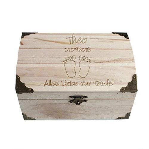 Geschenke.de Personalisierbare Schatztruhe als Geschenk zur Taufe mit Gravur, personalisierte Spardose aus Holz als Gastgeschenk vom Paten für Jungen und Mädchen groß