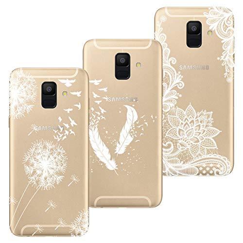 HopMore 3X Hüllen Silikon Handyhüllen für Samsung Galaxy A6 2018 Hülle Transparent Schutzhülle Durchsichtig Muster Handyhülle Ultra Dünn Silikonhülle Slim Bumper Cases Cover - Weißer