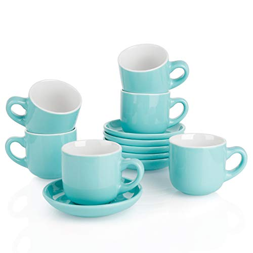 Teocera Porcelain Cappuccino Cups with Saucers  6 Ounce for Coffee Drinks Latte Cafe Mocha and Tea  Set of 6 Turquoise