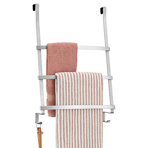mDesign Modern Decorative Metal Over Shower Door Towel Rack Holder Organizer with Storage Hooks - for Bathroom Towels, Washcloths, Hand Towels, Loofahs and Sponges - Chrome