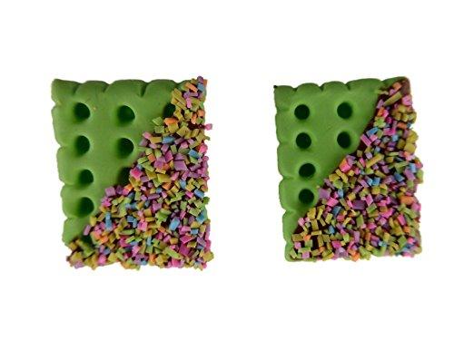 Ohrringe Stecker Ohrstecker handgemachter Keks Cookie Butterkeks mit Schokoladen Glasur und Streußel Pistazie 5910
