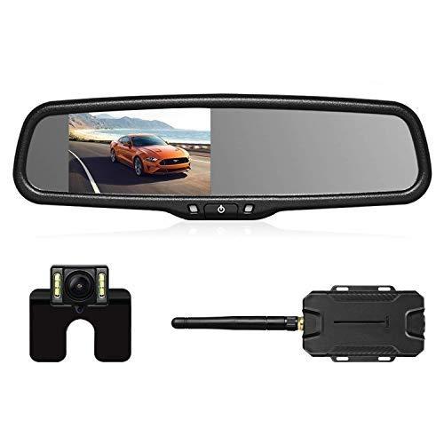 Cámara trasera inalámbrica para coche, de la marca AUTOVOX, modelo T1400W, impermeable nivel IP68, luz LED para matrícula, visión nocturna, monitor FHD en el espejo retrovisor