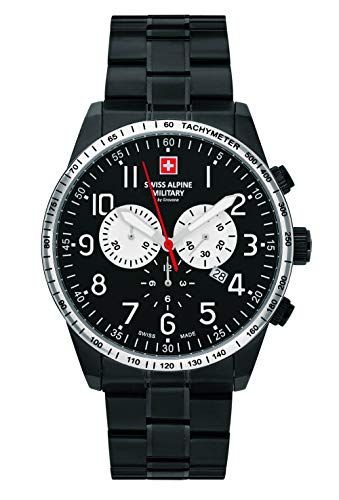 Swiss Alpine Military by Grovana Herrenuhr Chrono 10 ATM Black IP Black 7082.9177SAM