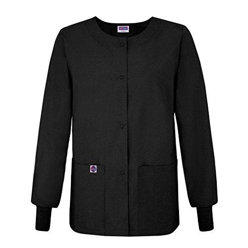 Sivvan Women's Scrubs Warm-Up Jacket/Front Snaps - Round Neck - S8306 - Black - L