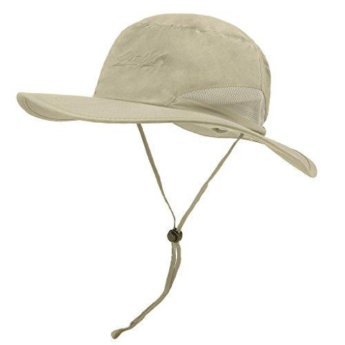 lethmik Outdoor Fishing boonie Hat Summer Quick Dry Wide Brim Safari Sun Hat Beige