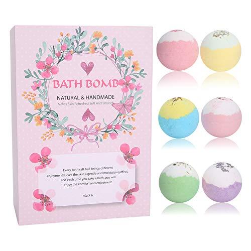 6pcs Bath Bombs Gift Set Bola de baño con fragancia, Hidratante corporal Bombas de baño de burbujas Gaseosas Aceites esenciales naturales orgánicos Relaja e hidrata la piel Aceite esencial Exfoliante