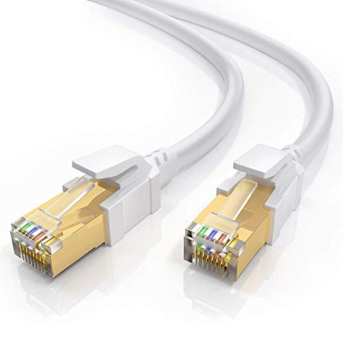 Cat8 Ethernet Cable 60FT with Cable Clips, BUSOHE Shielded RJ45 LAN Internet Network Cable, 40Gbps 2000MHz Gigabit Patch Cord Wire for Modem, Router, PS3, PS4, Xbox (White)