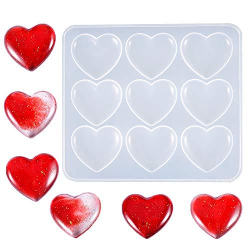 Nifocc - Molde de silicona con forma de corazón para hacer joyas, llaveros, manualidades, manualidades, herramientas de bricolaje