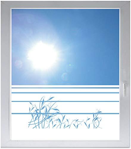 INDIGOS UG Sichtschutzfolie Glasdekorfolie Fensterfolie mit Motiv satiniert Blickdicht - w304 Gras Schwanken - 1000 mm Länge - 500 mm Höhe Streifen