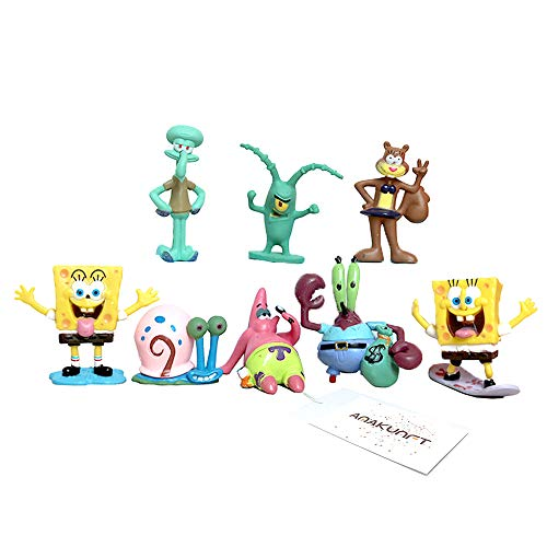 SET 8 STATUETTE SPONGEBOB PERSONAGGI action figure giocattoli toy Patrick Sponge