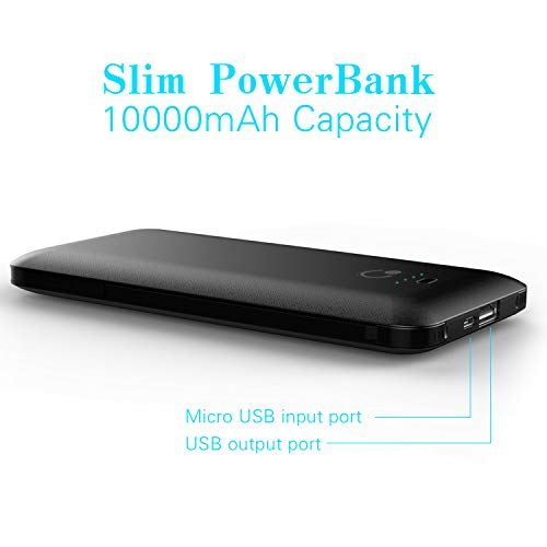 10000mAh Portable Charger, Ultra Slim Power Bank,4 Output and Dual Input External Battery Pack with Built-in AC Wall Plug Micro USB Type C Three Cables with USB Output Compatible with All mobilephone