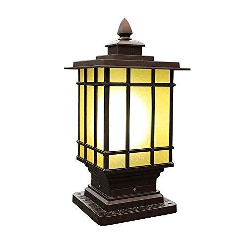 AWSERT Säule Lampe Spalte Scheinwerfer, Zaun Licht, Retro E27 wasserdichte Gartenlampe, Aluminiumguss Post Leuchte, for Outdoor-Garten Post Pole Mount Größe: (16 * 16 * 40CM) (Size : L)