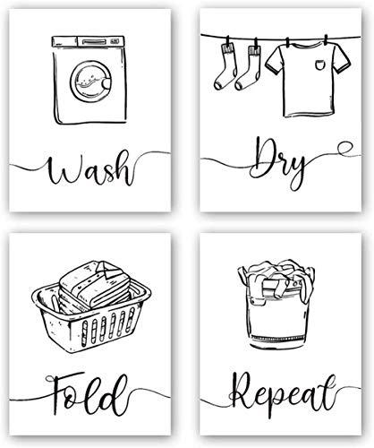 4 Set -Laundry Raumkunst-Druck, schwarz und weiß Waschküchenschilder, Poster für Waschküche, Badezimmer, Dekoration, Gemälde (rahmenlos, 20,3 x 25,4 cm)