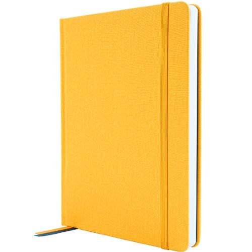 Cuaderno A5 (ish) de tapa dura, papel rayado, páginas numeradas y bolsillo, diario / bujo, amarillo mostaza (amarillo)