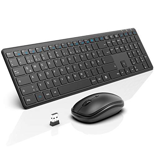 WisFox Tastatur Maus Set Kabellos, 2.4G Ultra Dünn Fortgeschrittene Leise Tastatur Maus Kabellos Combo mit USB Nano Empfänger für Windows, Computer, Desktop, PC, Laptop Mac - Deutsches