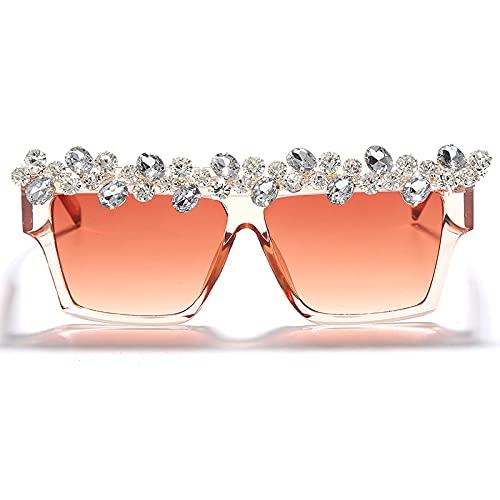 ShSnnwrl Único Gafas de Sol Sunglasses Gafas De Sol Cuadradas De Gran Tamaño con Diamantes, Gafas De Sol De Lujo con Diamantes De