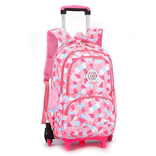 ZZLHHD Rolling Backpack for Kids,Large capacity tie rod package, detachable backpack-Pink_Six rounds, Trolley Case for Children School