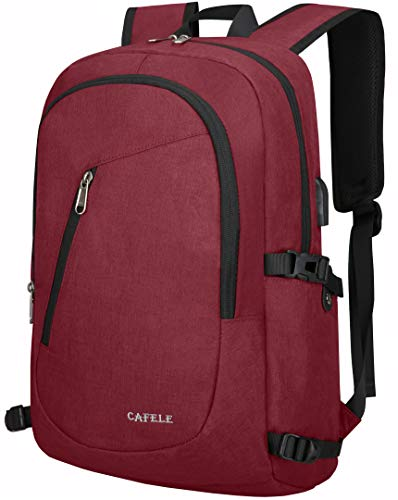 Cafele Laptop Backpack,Business Travel Anti Theft Backpack for Women with USB Charging Port,Slim Durable Water Resistant College School Bookbag Computer Backpack Fits 15.6 Inch Laptop Notebook,Purple