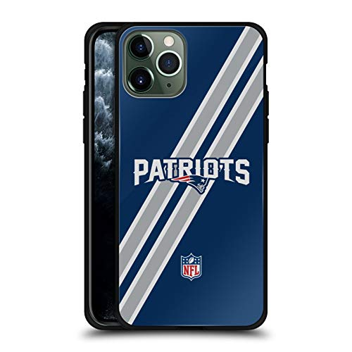 Head Case Designs Officially Licensed NFL Stripes New England Patriots Logo Black Hybrid Glass Back Case Compatible with Apple iPhone 11 Pro