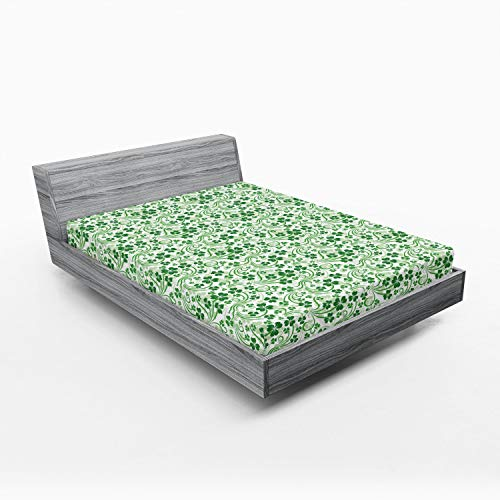Lunarable Shamrock Fitted Sheet, Lucky Celtic Clovers Swirls Monochrome Irish Design St Patrick's Day, Bed Cover with All-Round Elastic Deep Pocket for Comfort, King Size, Green Emerald
