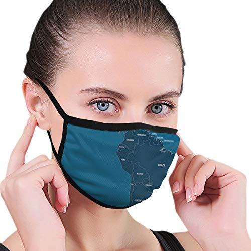 fgjfdjj Mittel- und Südamerika-Karte Sommer Unisex Dust Komfortable Abdeckung, waschbares Tuch, wiederverwendbare Gesichtsmaske Sturmhaube
